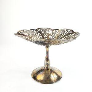 Silver Plate Lovelace pedestal dish jewelry tray